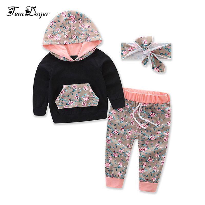 Tem Doge Inverno Neonati Vestiti per lo sport Floreale Hooded Sweatershirts + Pants + Fascia 3PCS Outfits Set Set di vestiti del bambino Y18120303