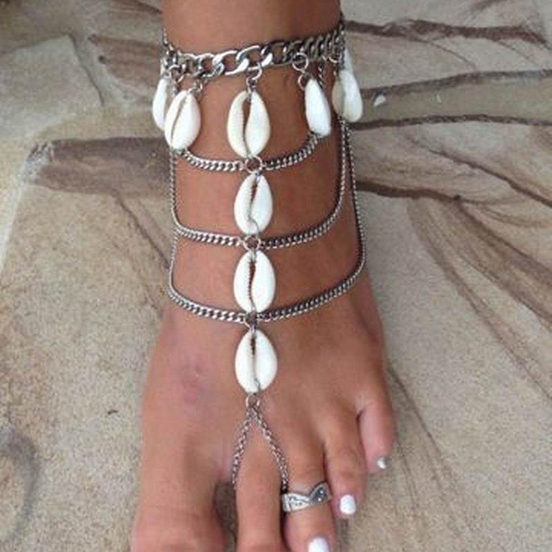 새로운 패션 보헤미아 긴 빈티지 비치 쉘 발 발목 다리 팔찌 보석 보헤미안 다층 술 발목 팔찌 체인