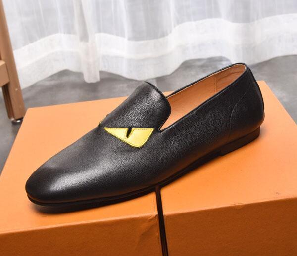 Set de couro preto de sapatos homens amarelos olhos de designer casuais sapatos mocassins Loafers ata levanta Monk Correias Drivers couro real Sneakers werr02