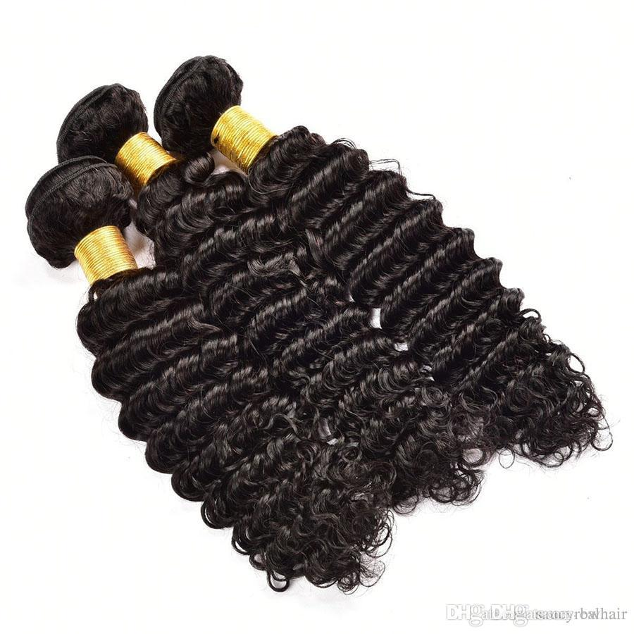 Elibess Brand--Deep Wave Brazilian Human Hair Weaves 100% Unprocessed Human Hair Extensions 5 Bundles Weave Bundles Wholesale price