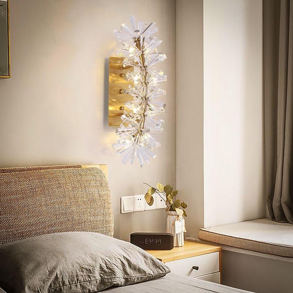 Decorazione della parete di oro Light Fixtures lusso muro di lusso di illuminazione del riparo Soggiorno Camera da letto della lampada da parete di cristallo LED di nuovo arrivo