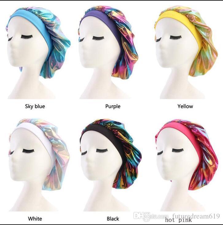 Mulheres muçulmanas larga faixa de cetim de seda respirável Bandana noite dormindo Turban Hat headwrap Bonnet quimio tampa Acessórios de cabelo
