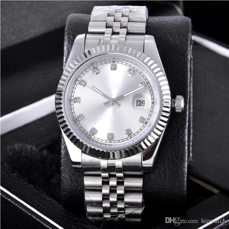 Мода дата часы серебряный циферблат из нержавеющей стали Алмаз автоматические наручные часы движение 2813 Валентина лучший подарок 36 мм