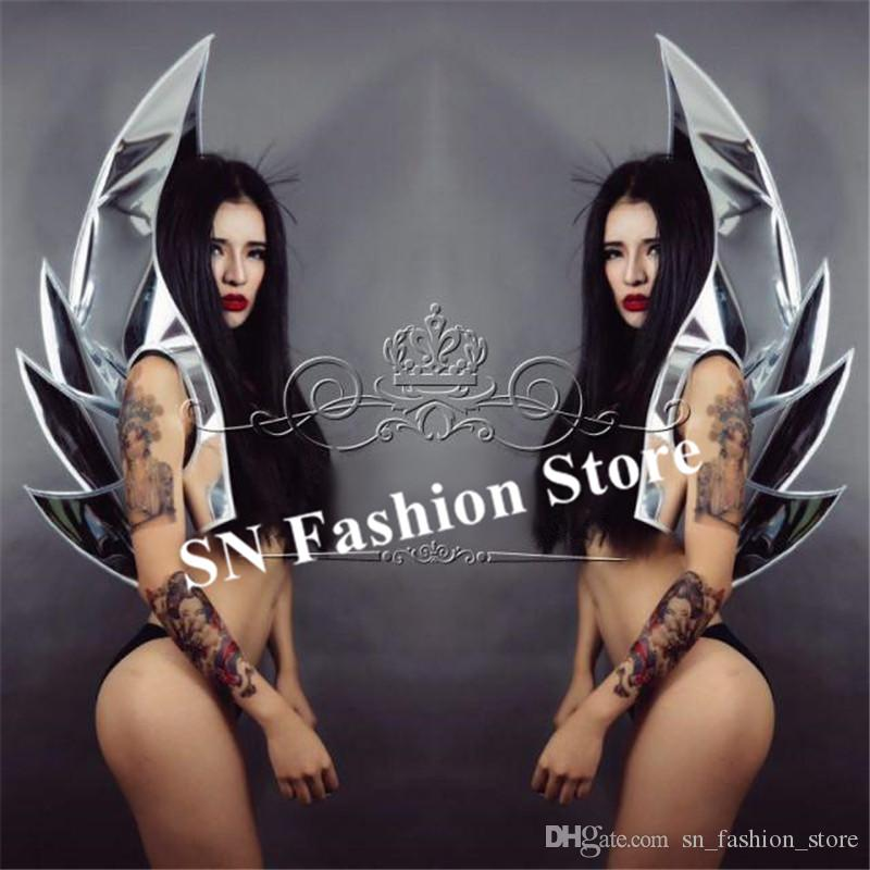 P21 Party silver mirror stage costumes singer perform backplane dj wears mirror armor outfits bar dress clothe future style club PARTY disco