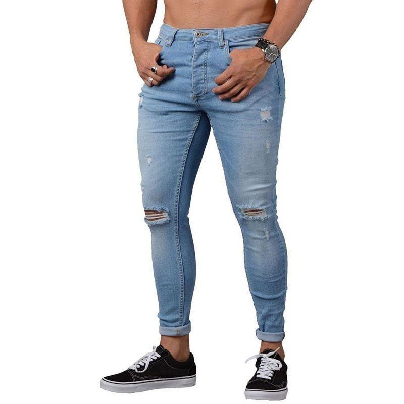 S-4XL мужские сплошной цвет джинсовые брюки-карандаш повседневные стрейч дизайнерские джинсы сексуальные дырки рваные мужские джинсы на молнии брюки плюс размер