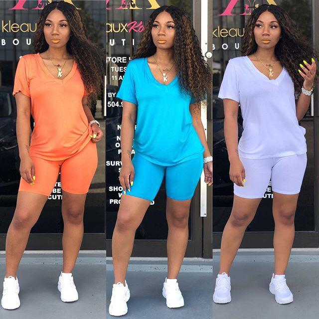Designer Two Piece Set Tracksuit Solid Color Short Sleeve Shorts Outfits Bodycon Women Summer Clothes Casual Jogger Suit Plus Size Cy6181
