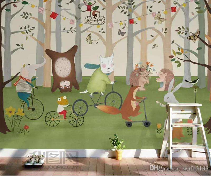 Özel boyut 3d fotoğraf duvar kağıdı çocuk odası duvar el-boyalı hayvan orman 3d resim kanepe TV arka plan duvar kağıdı dokunm ...