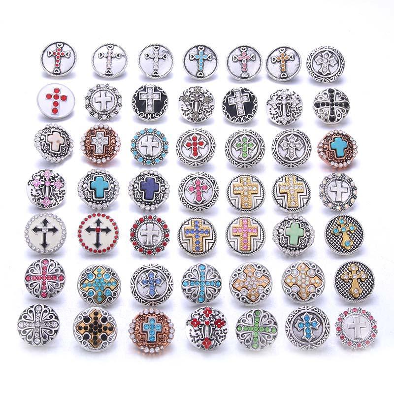 Yeni 10pcs Toptan Çapraz Faith 18mm çekin Takı Karışık Metal Rhinestone Snap Düğme Takı Bilezik Bilezik Kolye Fit