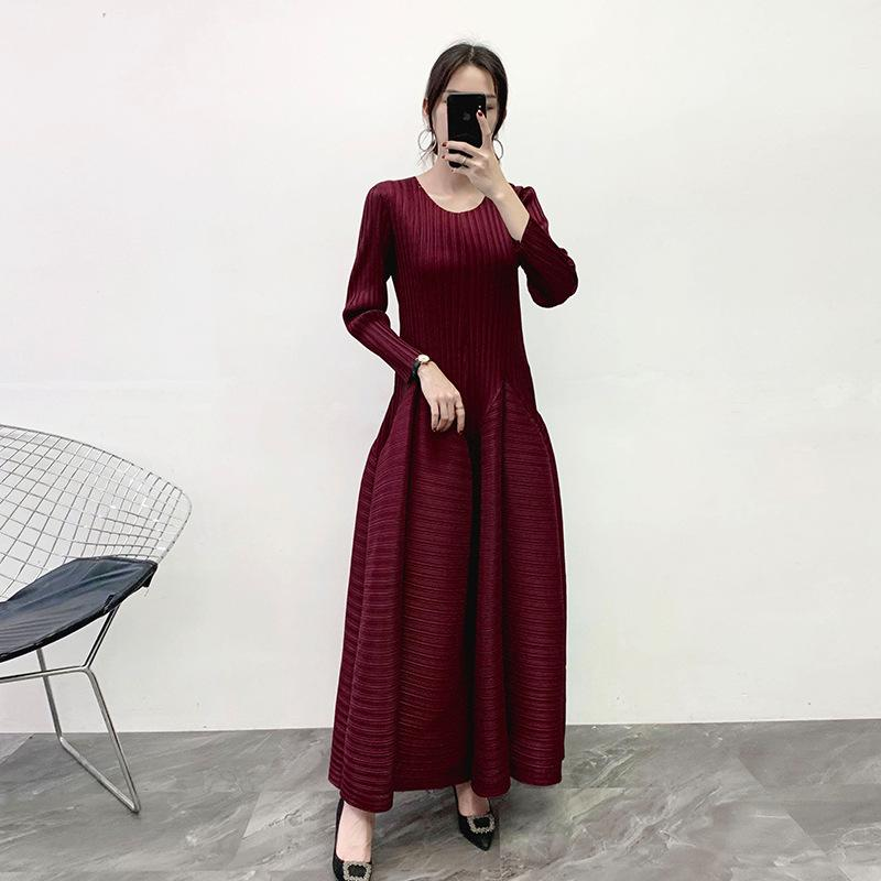 Miyake Pleats Please Ball Gown Dresses Solid O-Neck Long-sleeves Ankle-Length Plus Size Dress Women Fashion New Spring 2020