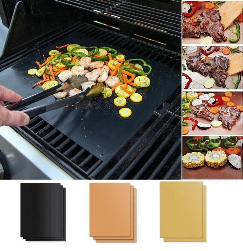 Folha reutilizáveis resistente ao calor Non-Stick churrasco Mat Easy Clean Grill Mat Assadeira portátil piquenique ao ar livre Cozinhar Ferramenta Barbecue