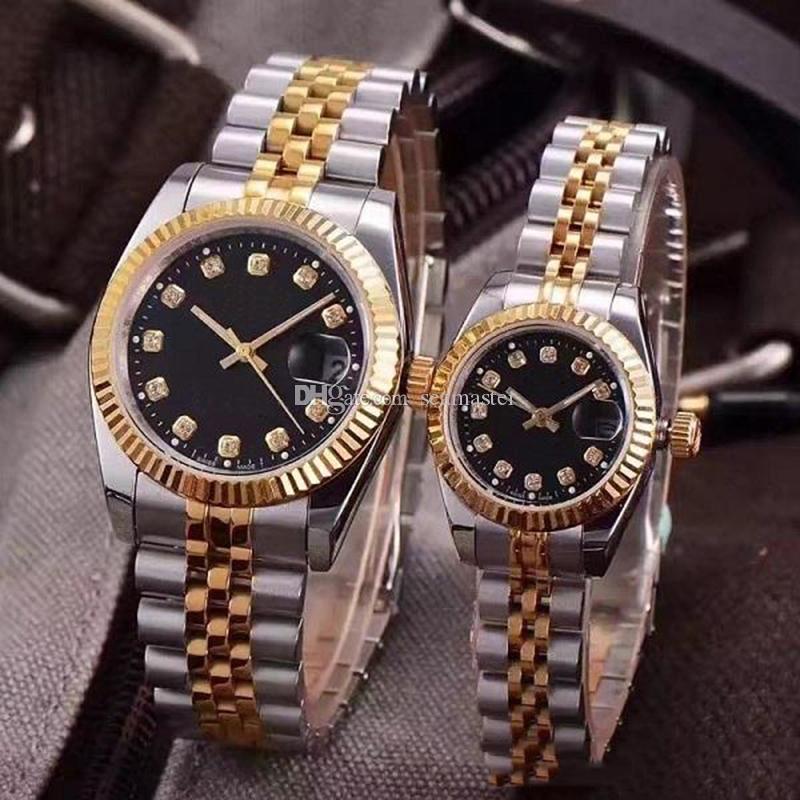الأزواج الجملة WATCH النمط الكلاسيكي الحركة التلقائية الميكانيكية 28MM / 36MM أزياء الرجال الرجال المرأة للمرأة الذهب الاصل الساعات ساعة اليد
