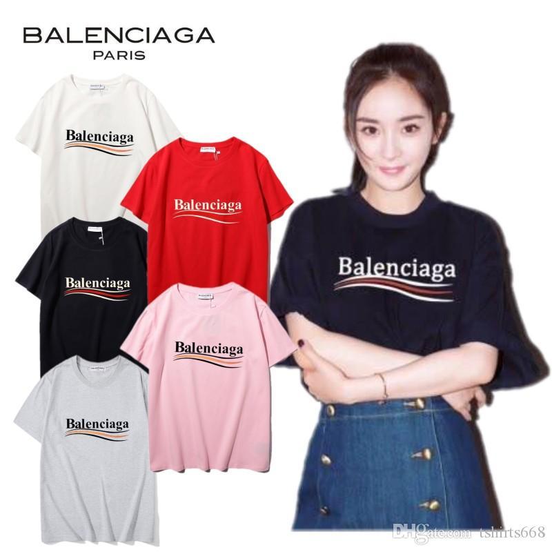 Balenciaga 2020SS Yeni Erkek Kadın Desgner Tişörtlü Lüks Paris tişörtleri Kadın Desen tişört Üst Kalite Pamuk Üst Tees # 456187