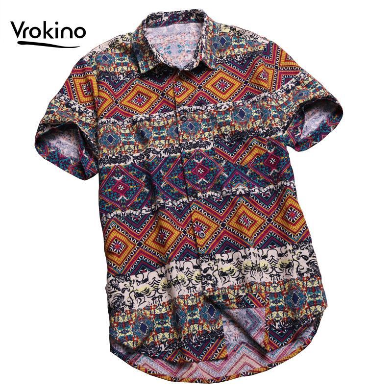 VROKINO 4XL 5XL 6XL Повседневный Гавайский пляж рубашка 2020 Новый Summer Fashion Man Печать большого размера с коротким рукавом рубашки T200602