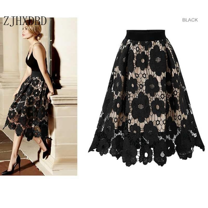 Autumn Pleated Vintage High Waist Skirt Solid Long Skirts Fashion Female Lace Hollow Flower Half-length Skirt Summer for Women