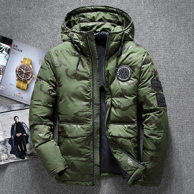 Sıcak Satış Windproof Aşağı Ceket Erkekler Kapşonlu Kış Ceketler Yüksek Kalite Akıllı Casual% 70 Beyaz Coats Down yastıklı Ceket DT191022 Isınma