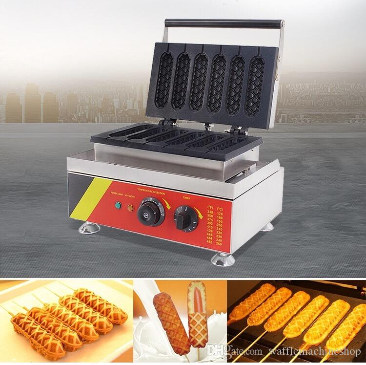 Ticari Elektrikli Sıcak Köpek Makinesi Waffle Köpek Makinesi 6 adet Çıtır Sıcak Köpek Waffle Makinesi Popüler Waffle Stick Maker