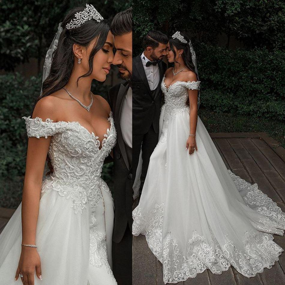 2020 Gorgeous Mermaid Wedding Dresses With Detachable Train Lace Appliqued Pearls Beads Off The Shouler Bridal Gowns
