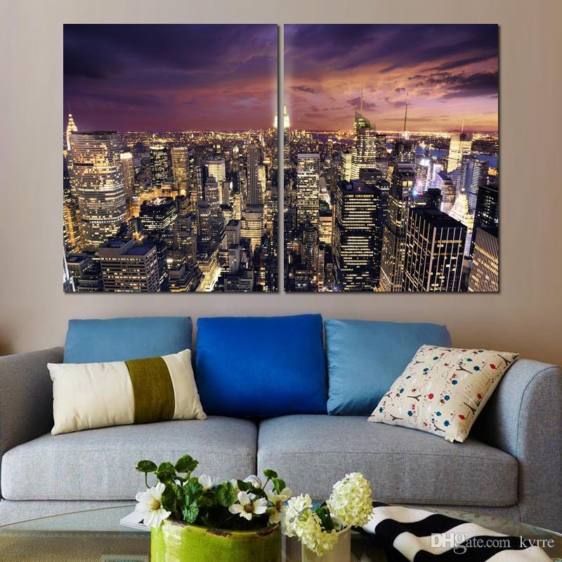 2 panels america light clouds houses cities canvas printed painting wall pictures for living room