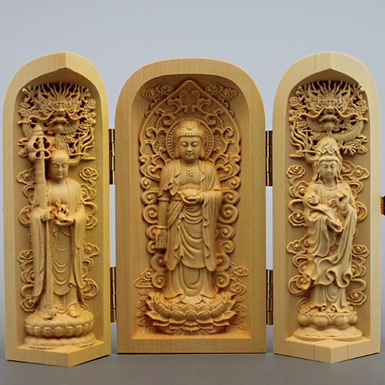 estatua de Buda tallada tía Occidental calidad caja de madera Sansheng Guanyin Guan Gong artesanía budistas adornos Pet Supplies