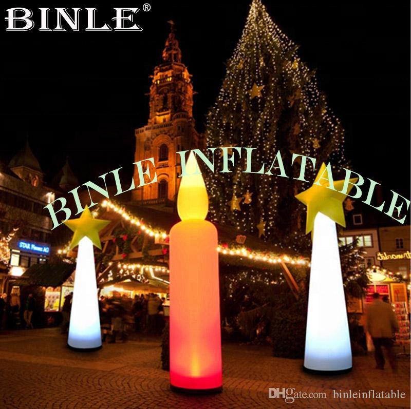 Bella 3m pilastro alto LED gonfiabile di illuminazione candela Red balloon per la decorazione del partito all'aperto