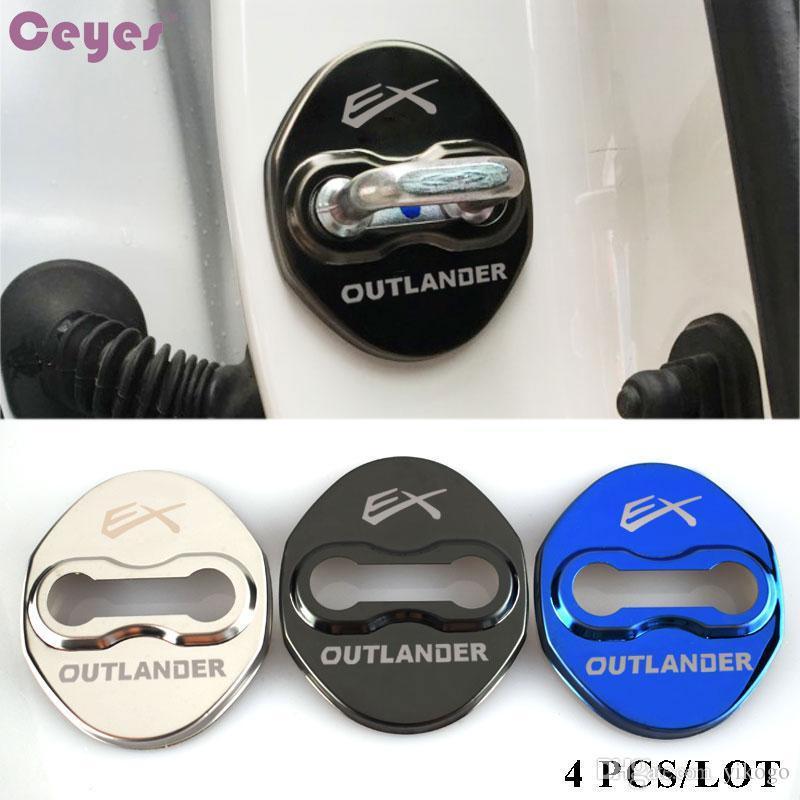 protector de cerradura de puerta del coche ex Outlander divisa de los emblemas para Mitsubishi ASX Lancer 9 accesorios de estilo 10 l200 coche cerradura de la puerta cubierta de coche