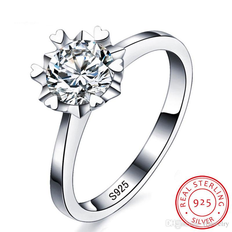 Luxury 100% Solid 925 Silver Rings Set 6mm 1 Ct SONA CZ Diamond Pure Silver Wedding Rings Jewelry Gift Wholesale For Women XR021