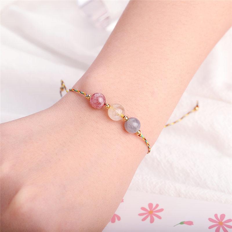 Nuevo diseño de piedra natural tejidas hechas a mano encantos los granos del cristal de los brazaletes de las pulseras Soportes de cuerda de joyas pulsera de las mujeres de hombres pareja regalo