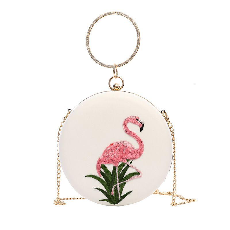 Ebullient2019 Kadın Nakış Küçük Çember Flamingo Zinciri Tek Omuz Kişilik Mini-Taşınabilir Akşam Paketi