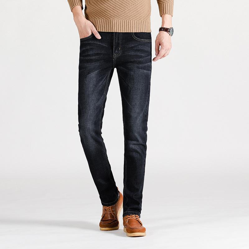 Estilo coreano Primavera New Style Men Slim Fit Skinny Pants Adolescente Moda Ultra-estiramento Tendência Cowboy Calças justas 1112