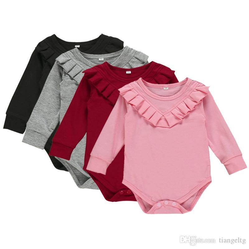 신생아 여자 주름 장난 꾸러기 4 디자인 긴 소매 솔리드 캔디 컬러 캐주얼 점프 수트 어린이 점프 수트 여자 의상 0-12M 04