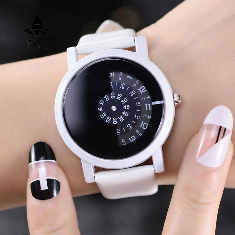 BGG design criativo conceito de câmera de relógio de pulso breve simples discos digitais especiais mãos moda relógios de quartzo para homens mulheres