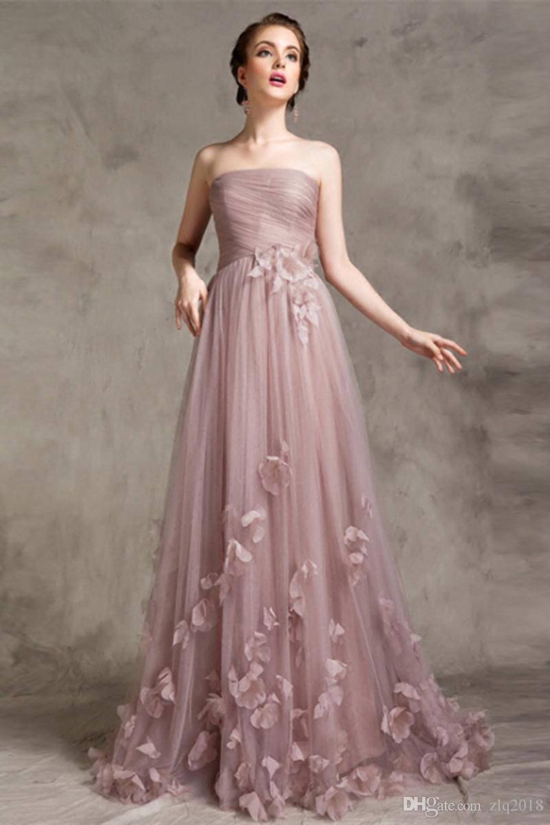 Sin tirantes de vestidos de noche largos sin mangas 2020 flores hechas a mano cremallera de la espalda del vestido formal barato Prom desfile