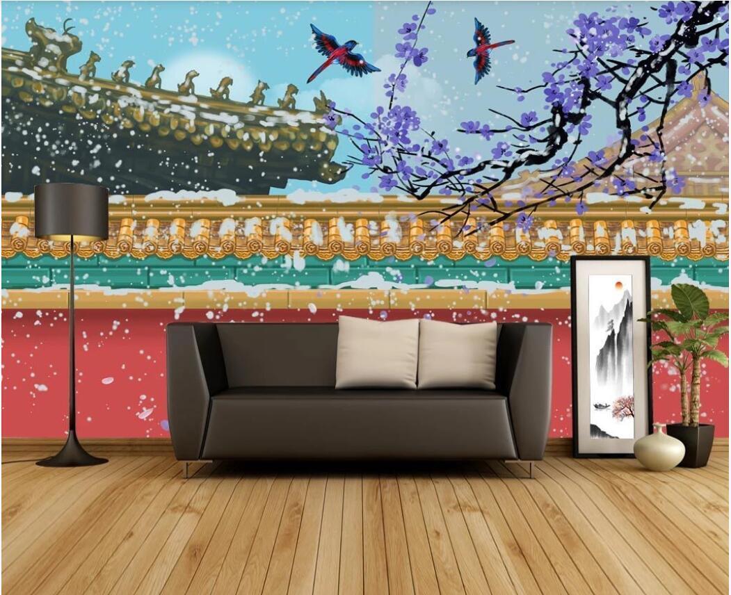 3d fondo de pantalla personalizado foto murales nuevo chino pintura del museo del palacio palacio pared de la nieve pared de la decoración edificio fondo cuadros del arte
