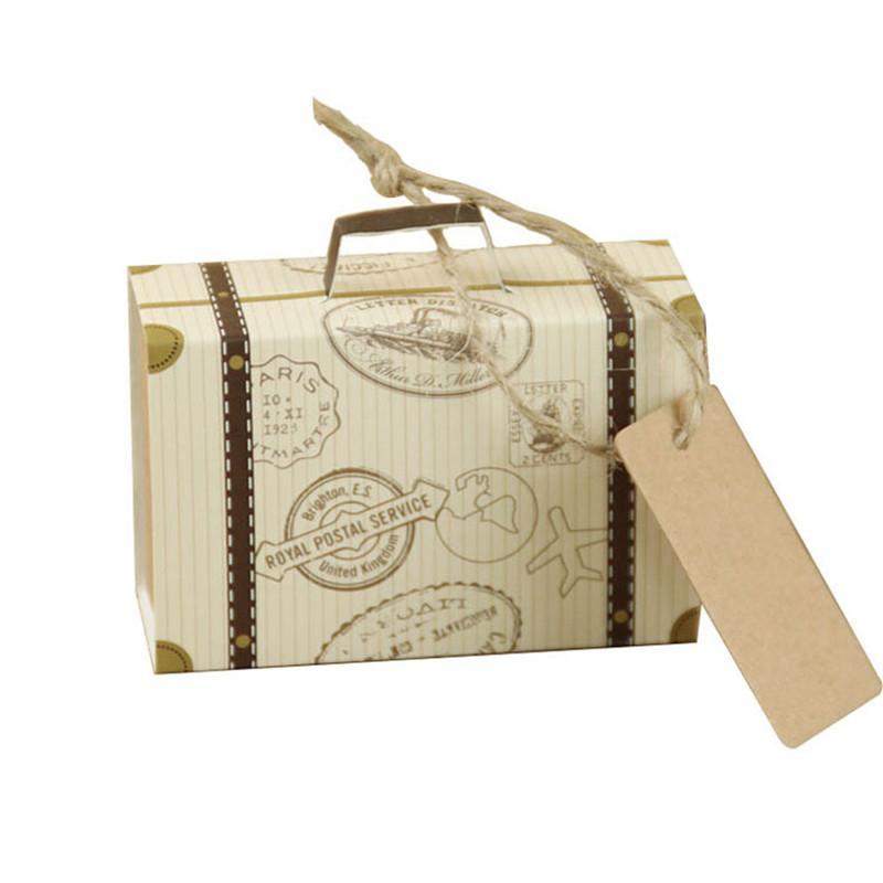 100 adet DIY Sevimli Mini Bavul Şeker Kutusu şeker Packaing Karton Düğün Hediye Kutusu Bebek Duş Olay Doğum Günü Parti Malzemeleri D ...