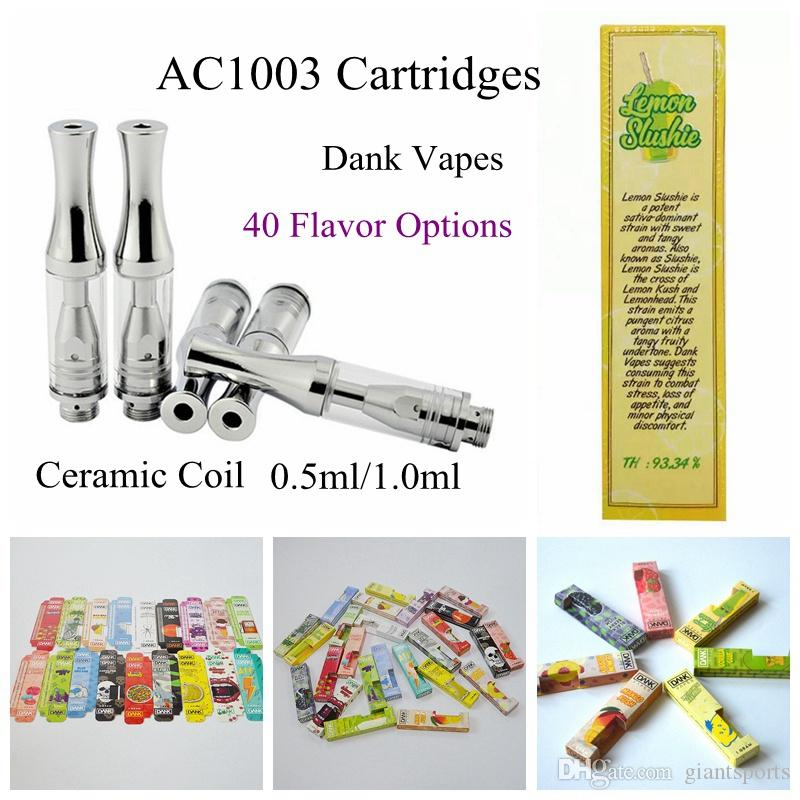 Hot Sale AC1003 Dank Vapes Packaging Vape Cartridges 510 Thread Glass Thick  Oil Vape Cartridges Empty Vaporizer Pen Ecig 1ml Silver Vaporizer E Cig Uk