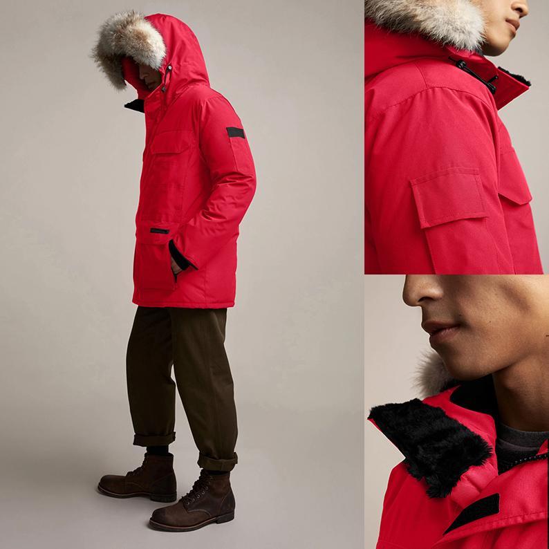 2020 Canadá invierno Fourrure de Down Parka Hombre Chaquetas de vestir exteriores encapuchada de la piel de Big Fourrure Manteau abajo cubren Hiver Doudoune Chaqueta