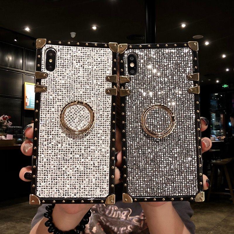 여성 호화로운 다이아몬드 블링 케이스 아이폰 6 용 7 8 플러스 XS XR XSMAX 삼성 S8 S9 S10 플러스 note9 하드 코크 블링 케이스 트렁크 Fundas
