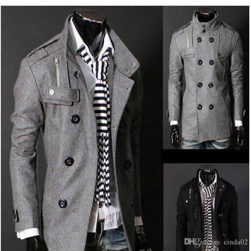 Бесплатная доставка черный / серый мужская шерстяное пальто двубортный погоны длинные тренчи Дропши Бесплатная доставка