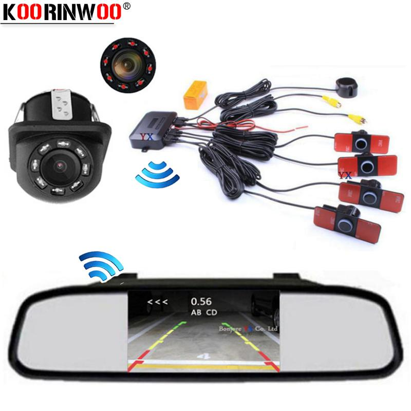 Koorinwoo Wireless Parktronic Video System Screen Monitor Car Parking Sensor Rear view Camera Reverse Buzzer Indicator Jalousie