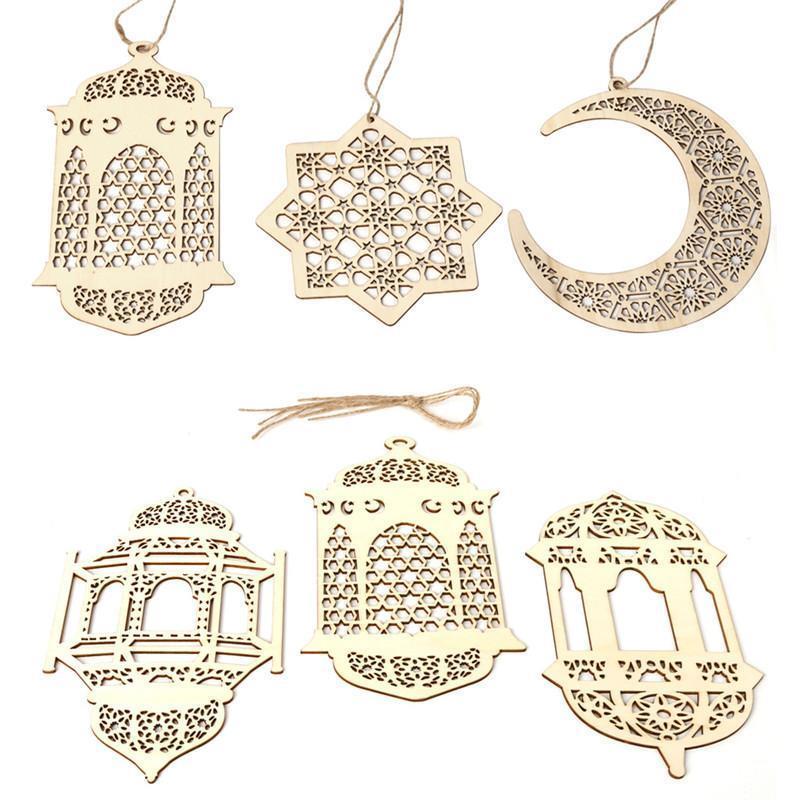 Рамадан Деревянный Декор Ид Мубарак Мусульманский Рамадан Луна Звезда Пластина Полый Кулон Исламский Фестиваль Событие Партия Пользу