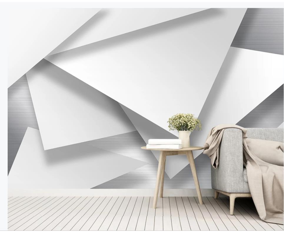 duvarlar için duvar kağıdı oturma odası 3D stereo, modern minimalist soyut geometrik TV arka plan duvar kağıdı için 3 d
