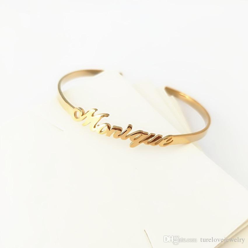 Personalisierte altenglischen Namen Armband-Armbänder für Frauen-Mann-Baby-Gothic Schmuck individuelles Angebot Brief Geschlossenes Armband Manchette