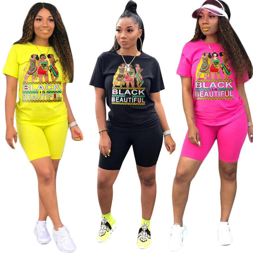Women cartoon Tracksuit casual 2 piece set short sleeve t shirt+bodycon shorts fashion outfits summer clothes letter print jogger suit 3009