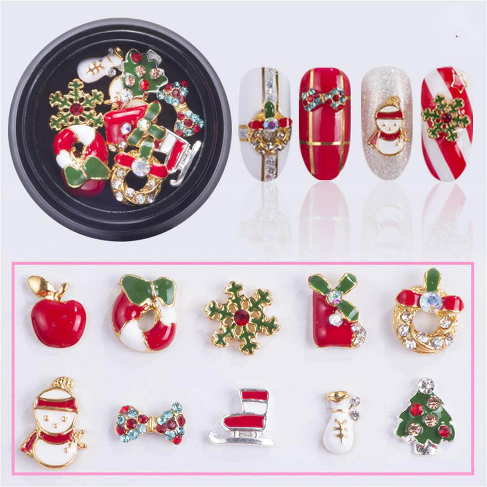 10 Designs/box Alloy Metal Snowman Nail Rhinestones Christmas DIY 3D Nail Art Decorations Charms Accessories Tools