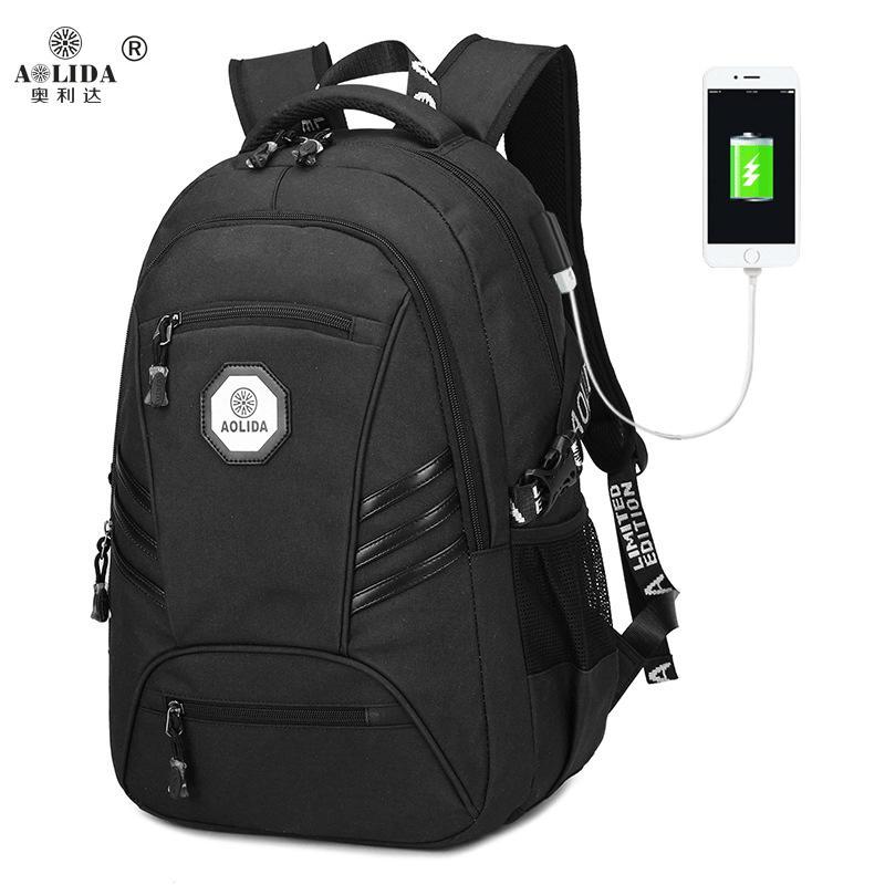 Europa e América novos alunos do ensino médio schoolbag PVC mochila impermeável lazer moda carregamento USB volta dos homens