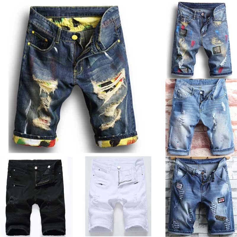 Men's Shorts Jean Denim Causual Fashional Distressed Shorts Skate Board Jogger Ankle Ripped Wave Free Shipping