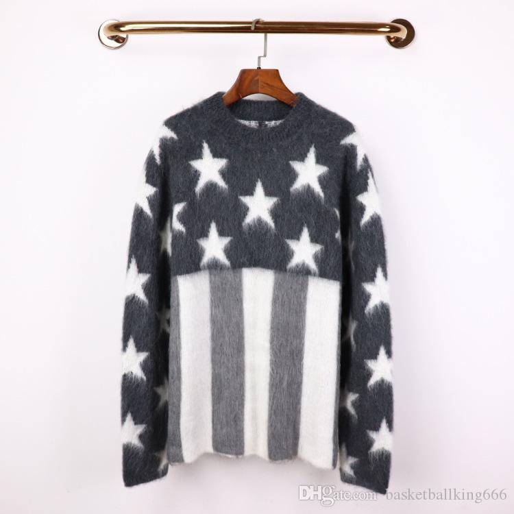 Winter-Frauen arbeiten Mohair Wools Pullover Grau Amerika Stars And Stripes Knit-Hemd lose Bequeme Strickjacke