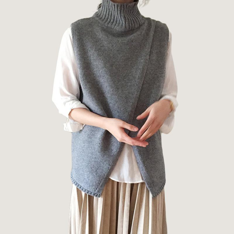 Женщины Передняя Щель Половина Водолазка распущенной шерсти жилет женский свитер Женские рукавов пуловер Мода зима Все Match Трикотаж