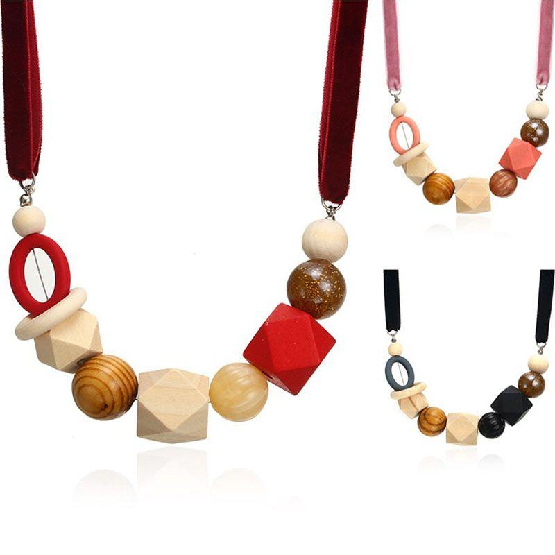 إمرأة الخشب الخرز قلادة مصمم للمرأة الهندسية خشبي مطرز القلائد المعلقات بيان قلادة مجوهرات مقلدة جديد