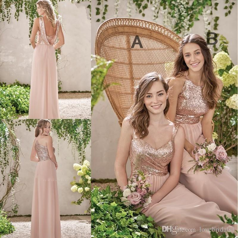 2019 hot sale Rose Gold Bridesmaid Dresses A Line Spaghetti Backless Sequins Chiffon Cheap Long Beach Wedding Gust Dress Maid of Honor Gowns